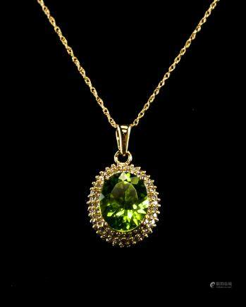 4.5CT Peridot & Diamond Pendant Necklace COA