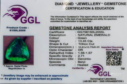 13.45 ct Natural Trillion Cut Emerald Certificate