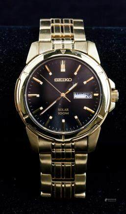 Seiko Solar Black Dial Gold Toned Watch RV$285