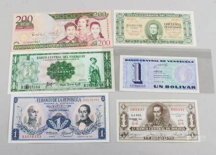 6 Assorted South American Banknotes
