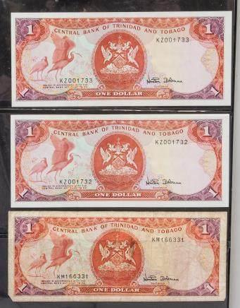 1979 Trinidad and Tobago 1 Dollar Banknotes 3 PC