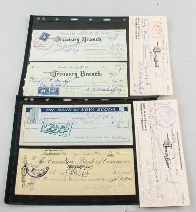Six Canadian Albertan Cancelled Cheques1940-1950s