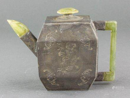 Chinese Copper Teapot w/ Green Stone Handle Cover