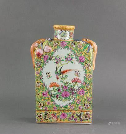 Chinese Canton Enamel Porcelain Vase Jian Yi Tang