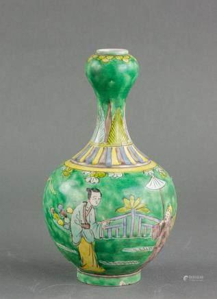 Chinese Famille Verte Porcelain Vase Jiajing Mark