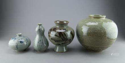 4 Pieces of Korean Celadon Porcelain Vases