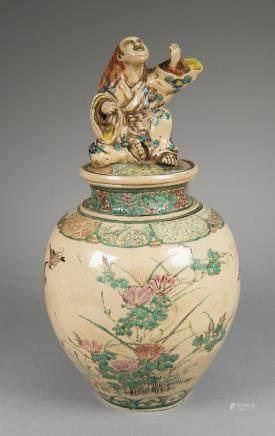 Antique Japanese Glazed Ceramic Jar