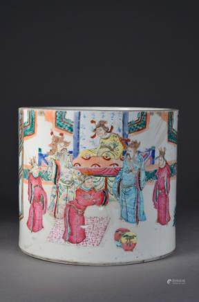 18/19th. Chinese Famille Rose Porcelain Brush Pot