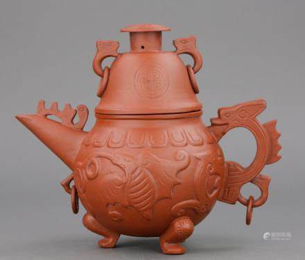 Chinese Zisha Archaic Design Teapot Signed
