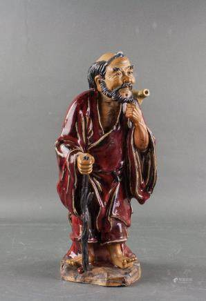 Chinese Red Pottery Immortal Statue Artist Stamped