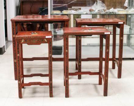 Chinese 4 PC Lacquer Wood Nesting Table Set