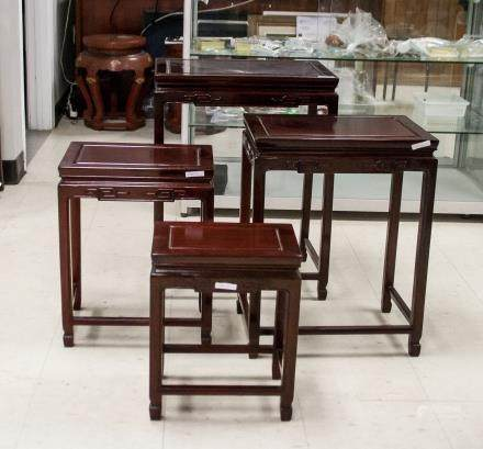 Four Chinese Wood Nested Table Set