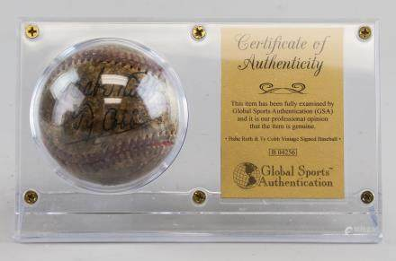 Autographed Baseball Signed Babe Ruth & Ty Cobb