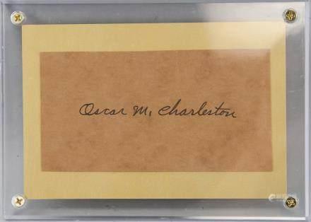 Oscar Charleston Autographed Cut Card with COA