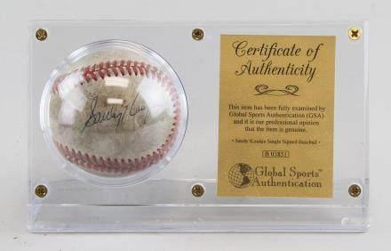 Sandy Koufax Autographed Baseball COA