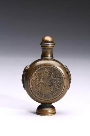 A BRONZE 'DRAGON' SNUFF BOTTLE