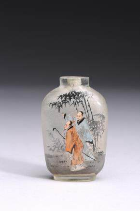 AN INSIDE-PAINTED 'FIGURES' SNUFF BOTTLE