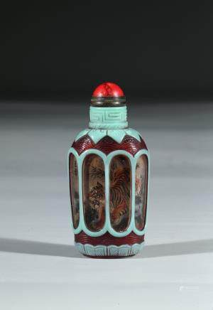 A GLASS AND INSIDE PAINTED SNUFF BOTTLE