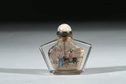 AN INSIDE PAINTED GLASS SNUFF BOTTLE