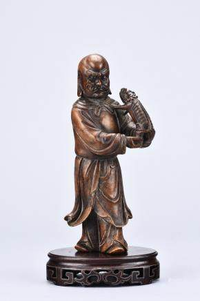 A SOAPSTONE CARVING OF LUOHAN