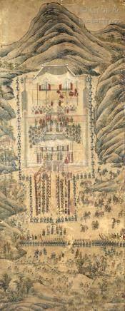 Corée, période Choson, XVIIIe siècle  Probablement deux vues du Gyeongbokgung,