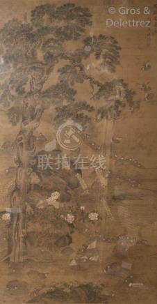 Chine, fin XIXe-début XXe Peinture sur toile représentant des cailles sur un p