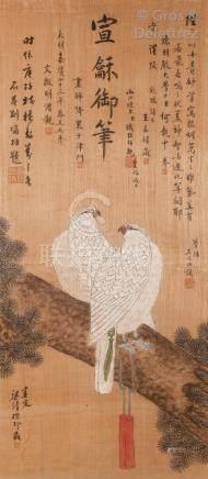 Chine, XXe Peinture à l'encre et couleurs sur soie représentant deux faucons s