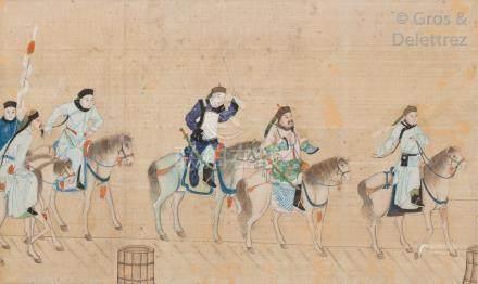 Chine, fin XIXe - début XXe siècle Lot de trois fragments de peinture à l'encr