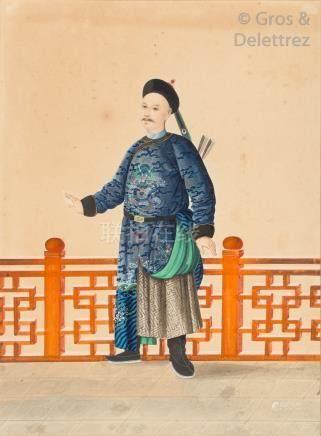 Chine, début XXe siècle  Gouache polychrome, représentant un guerrier mandchou
