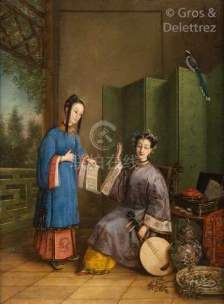 École Anglo-Chinoise, vers 1880  Peinture représentant une jeune musicienne ass