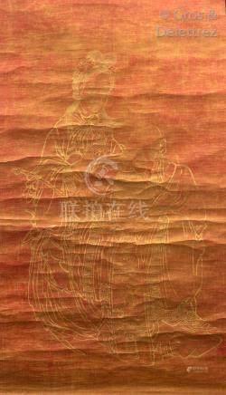 Chine, époque Tongzhi (1862-1874)  Peinture sur papier, à l'or sur fond rouge,