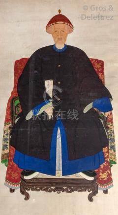 Chine, XIXe siècle Encre et couleurs sur papier représentant un couple de dign