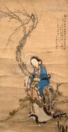 Chine, début du XXe siècle  Peinture à l'encre et couleurs sur papier, représen