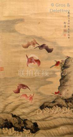 Chine, XXe siècle  Encre et couleurs sur papier représentant des chauve-souris