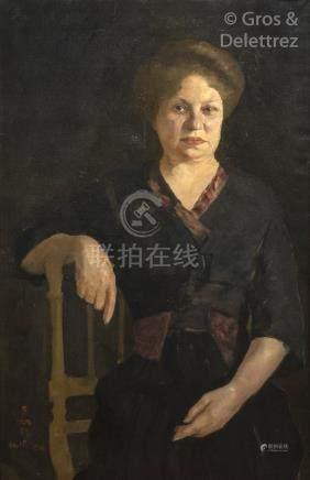 WANG RUYU (1887/1889 - ) Portrait présumé de Denise Li Fengbai, épouse du pein