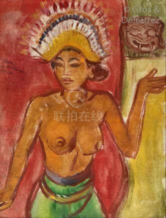 Théo MEIER (1908-1982)   Danseuse balinaise  Huile sur toile signée en haut ver