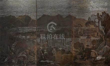 École Chinoise (XXe siècle)  Vue présumée de la baie de Hong-Kong  Trois pannea