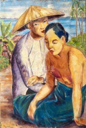 Yves REVELLI (1898-1971)  Deux paysannes vietnamiennes  Huile sur toile.  91, 5