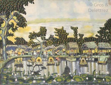 Suzanne BONNAL DE NOREUIL (1888-c.1960)   Lavandières en bord de rivière, 1929.