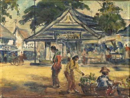 Attribué à H. Posma Sneek (début du XXème siècle) Scène de rue à Jakarta Huil