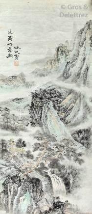 École Chinoise  Paysage à la cascade  Encre de Chine et aquarelle sur papier si