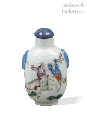Chine, XIXe siècle  Lot comprenant deux flacons tabatière de forme balustre en
