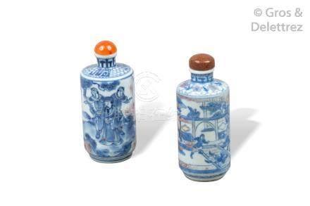 Chine, XIXe siècle  Deux flacons tabatières de forme cylindrique, l'un à décor