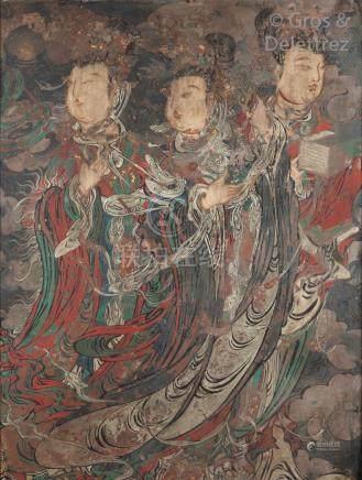 Chine, début de la période Ming, XIVe siècle  Importante fresque polychrome sur