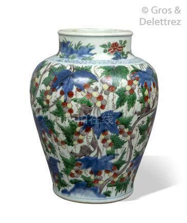Chine, période Kangxi  Potiche de forme balustre en porcelaine à décor de loir