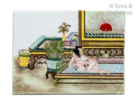 Chine  Élément d'écran en porcelaine et émaux de la famille rose, à décor d'une