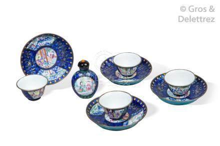 Chine, XIXe siècle  Lot comprenant quatre coupelles et sorbets et leurs présent