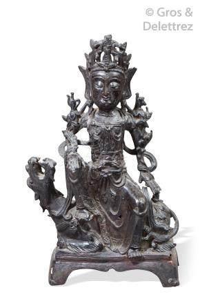 Chine, fin de la période Ming, XVIIe siècle  Statuette en bronze de patine brun