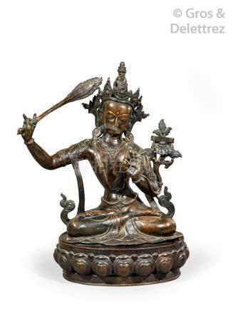 Tibet, période Qing  Important sujet en cuivre de patine brune, représentant Ma