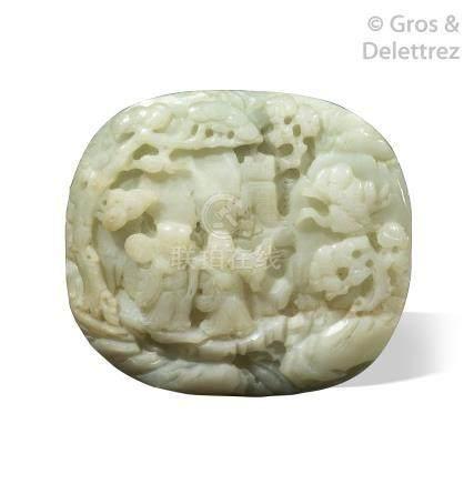 Chine, XIXe siècle  Plaque de sceptre en jade blanc, à décor de deux immortels